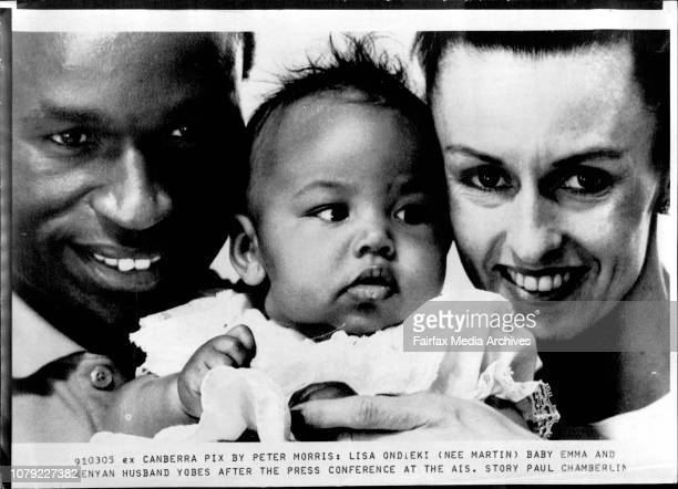 Lisa Ondieki baby Emma and Kenyan husband Yobes after the press conference at the Ais March 5 1991
