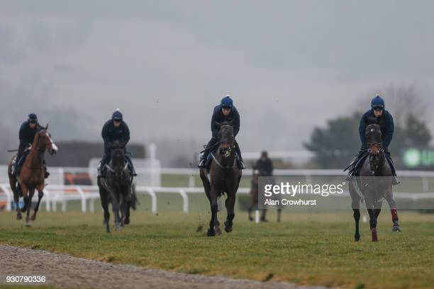 Lisa O'Neill riding Apple's Jade on the gallops at Cheltenham racecourse on March 12 2018 in Cheltenham England