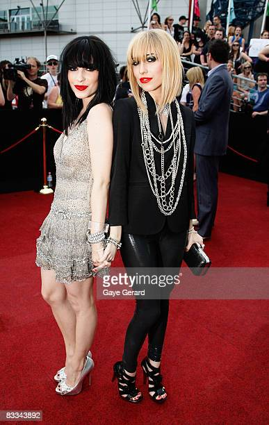 Lisa Origliasso and Jess Origliasso of The Veronicas arrive at the 2008 ARIA Awards at Acer Arena Sydney Olympic Park on October 19 2008 in Sydney...