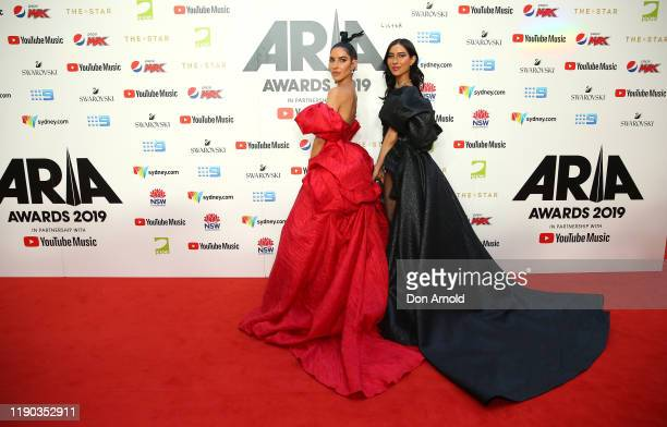 Lisa Origliasso and Jessica Origliasso arrive for the 33rd Annual ARIA Awards 2019 at The Star on November 27 2019 in Sydney Australia