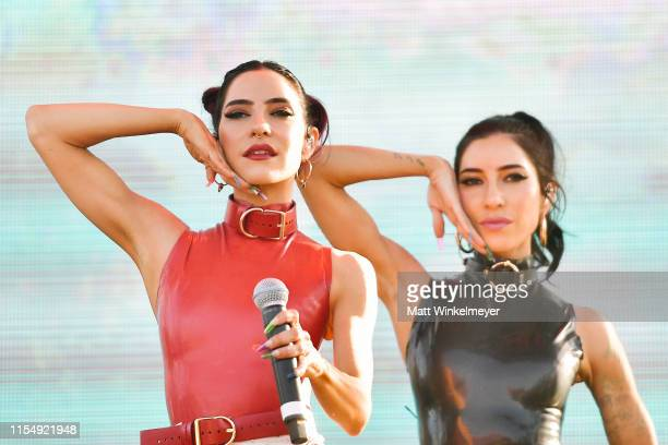 Lisa Origliasso and Jessica Origliasso of the The Veronicas performs during the LA Pride 2019 on June 09 2019 in West Hollywood California