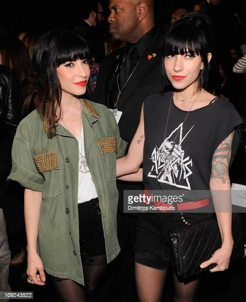 Lisa Origliasso and Jessica Origliasso of The Veronicas attend the LAMB Fall 2011 fashion show during MercedesBenz Fashion Week at The Theatre at...