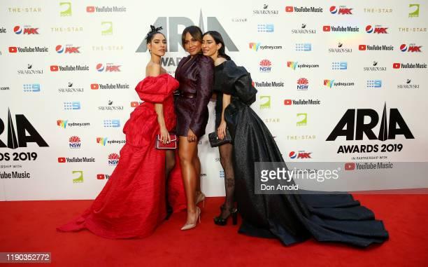 Lisa Origliasso Jessica Mauboy and Jessica Origliasso arrive for the 33rd Annual ARIA Awards 2019 at The Star on November 27 2019 in Sydney Australia