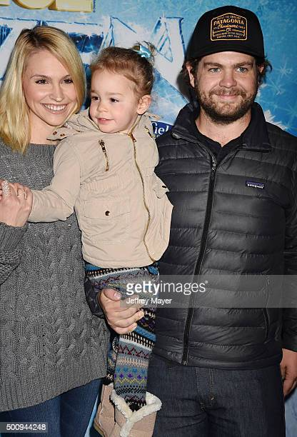 Lisa Osbourne Pearl Osbourne and Jack Osbourne arrive at the premiere of Disney On Ice's 'Frozen' at Staples Center on December 10 2015 in Los...