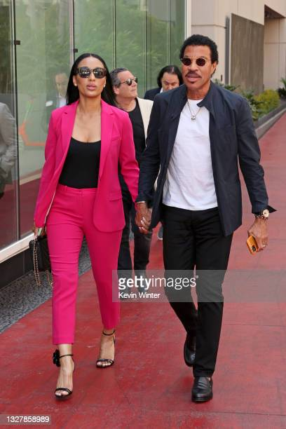 Lisa Parigi and Lionel Richie attend a ceremony honoring Television Producer Nigel Lythgoe with a star on the Hollywood Walk Of Fame on July 09, 2021...