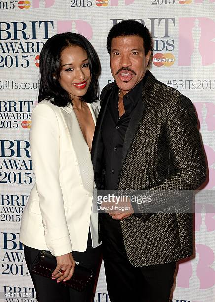 Lisa Parigi and Lionel Richie attend the BRIT Awards 2015 at The O2 Arena on February 25 2015 in London England