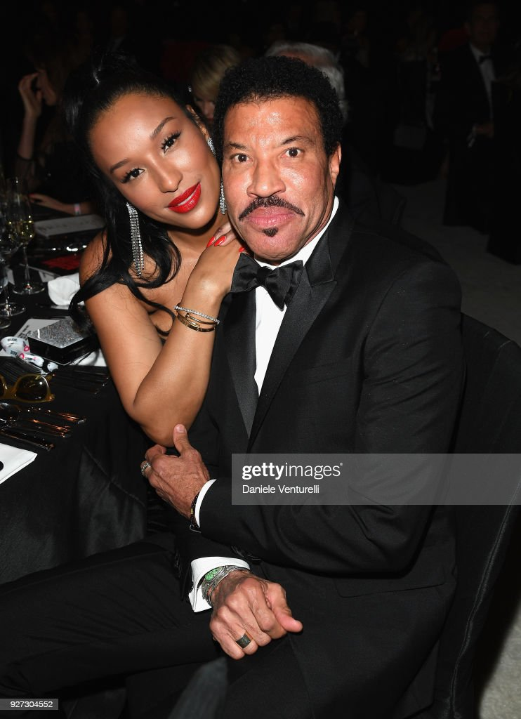 Lisa Parigi (L) and Lionel Richie attends Elton John AIDS Foundation 26th Annual Academy Awards Viewing Party at The City of West Hollywood Park on March 4, 2018 in Los Angeles, California.