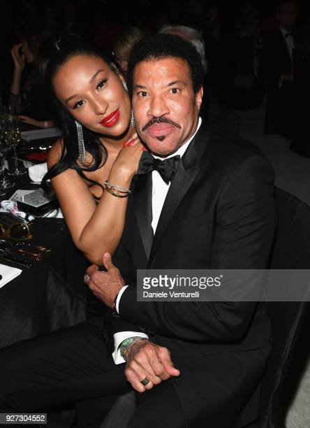 Lisa Parigi and Lionel Richie attends Elton John AIDS Foundation 26th Annual Academy Awards Viewing Party at The City of West Hollywood Park on March...