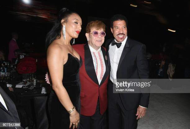 Lisa Parigi Sir Elton John and Lionel Richie attend the 26th annual Elton John AIDS Foundation Academy Awards Viewing Party with cocktails by Clase...