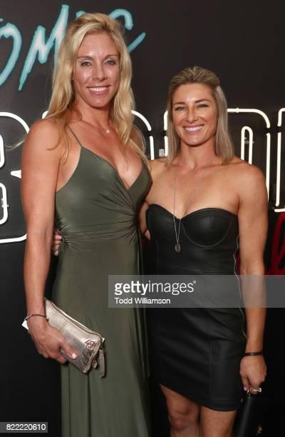 Lisa Paul Newman and Heidi Moneymaker attend the premiere Of Focus Features' 'Atomic Blonde' at The Theatre at Ace Hotel on July 24 2017 in Los...