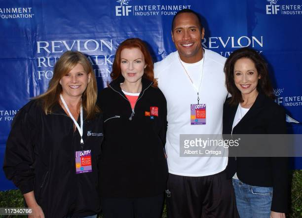 Lisa Paulsen president/CEO of Entertainment Industry Foundation Marcia Cross Dwayne The Rock Johnson and Lilly Tartikoff