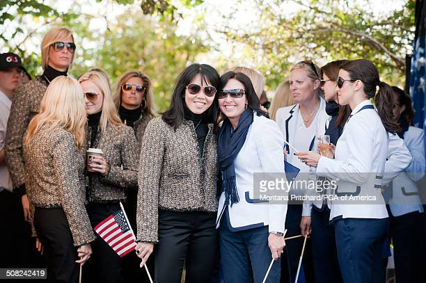 Lisa Pavin and Gaynor Montgomerie during the Closing Ceremonies at the 38th Ryder Cup at the Twenty Ten Course at Celtic Manor in Newport Wales on...