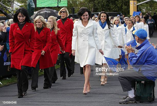 Lisa Pavin and Gaynor Montgomerie lead out the Wives and Girlfriends during the Opening Ceremony prior to the 2010 Ryder Cup at the Celtic Manor...