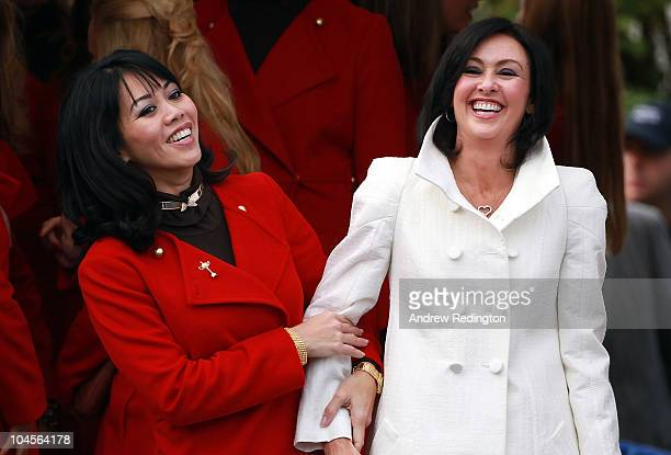 Lisa Pavin and Gaynor Montgomerie smile during the Opening Ceremony prior to the 2010 Ryder Cup at the Celtic Manor Resort on September 30 2010 in...