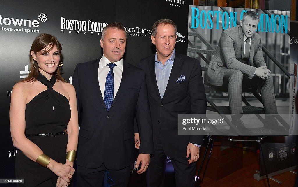 Lisa Pierpont, actor Matt LeBlanc and Boston Common Magazine Publisher Glen Kelley attend the Boston Common Magazine Celebration of its Spring Issue Hosted by Cover Star, Matt LeBlanc on February 20, 2014 in Boston, Massachusetts.