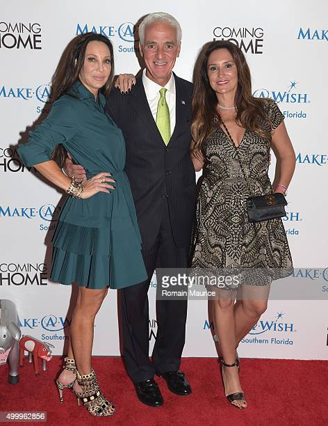 Lisa Pliner Charlie Crist and Carole Crist attend Coming Home and MakeAWish Southern Florida Celebrate Miami Art Design Week at Coming Home Gallery...