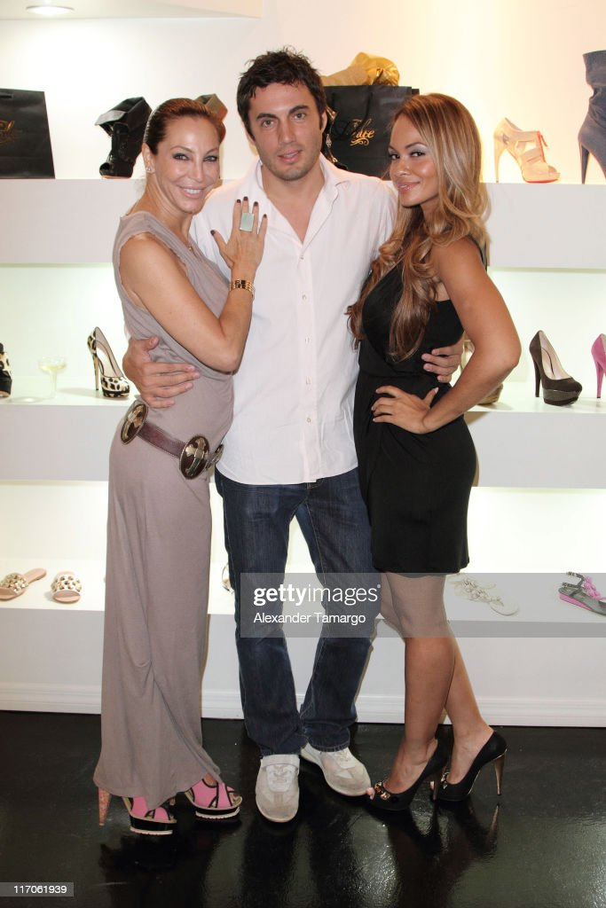 Lisa Pliner, Fabian Basabe and Evelyn Lozada are seen at Dulce Shoe Boutique on May 6, 2010 in Coral Gables, Florida.