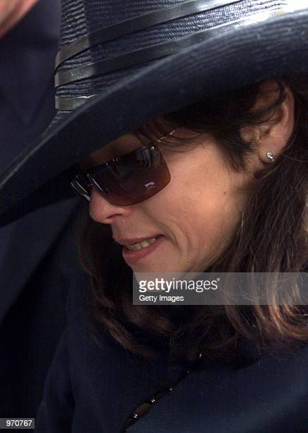 Lisa PritchardJohnson girlfriend of John Entwistle arrives for his funeral service at St Edwards Church July 10 2002 in StowontheWold United Kingdom...