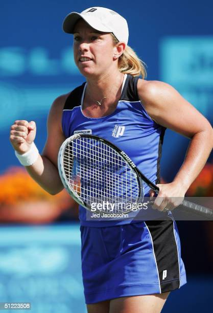Lisa Raymond of the USA celebrates after defeating Daniela Hantuchova of Slovakia, during the quaterfinals at the Pilot Pen Tennis tournament on...