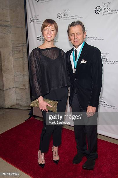 Lisa Rinehart and Event Honoree Mikhail Baryshnikov attend the The New York Public Library For The Performing Arts' 50th Anniversary Gala at The New...