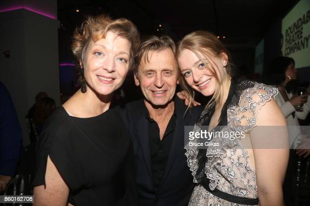 Lisa Rinehart husband Mikhail Baryshnikov and daughter Anna Baryshnikov pose at the opening night after party for Time and The Conways on Broadway at...