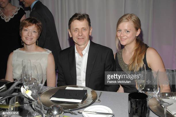 Lisa Rinehart Mikhail Baryshnikov and Anna Baryshnikov attend Salon de Louis Vuitton honoring Mikhail Baryshnikov at Louis Vuitton Maison on July 6...