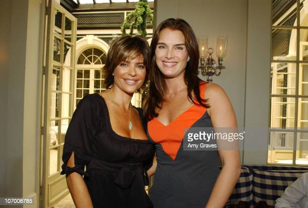 Lisa Rinna and Brooke Shields during Unlocked Secret Luncheon at L'Orangerie in Beverly Hills CA United States