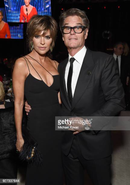Lisa Rinna and Harry Hamlin attend the 26th annual Elton John AIDS Foundation Academy Awards Viewing Party sponsored by Bulgari celebrating EJAF and...
