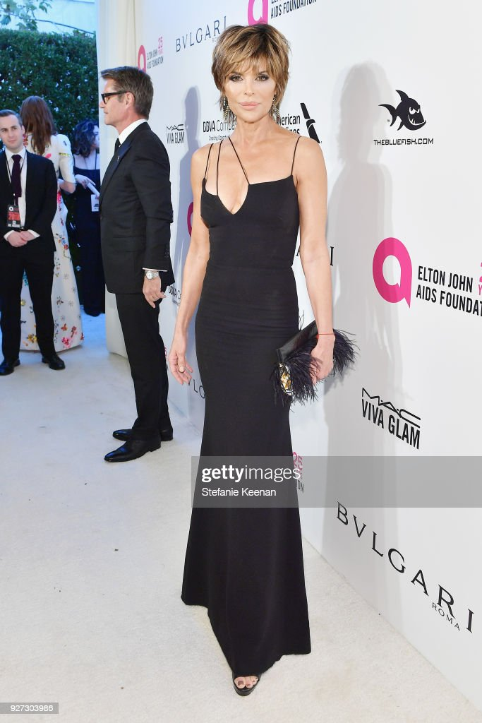 Lisa Rinna attends the 26th annual Elton John AIDS Foundation Academy Awards Viewing Party sponsored by Bulgari, celebrating EJAF and the 90th Academy Awards at The City of West Hollywood Park on March 4, 2018 in West Hollywood, California.
