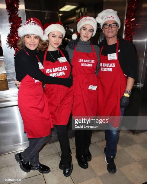 Lisa Rinna Delilah Belle Hamlin Amelia Gray Hamlin and Harry Hamlin attend Christmas Celebration On Skid Row at the Los Angeles Mission on December...