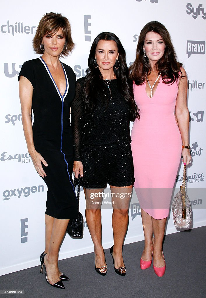 Lisa Rinna, Kyle Richards and Lisa Vanderpump appear during the 2015 NBCUniversal Cable Entertainment Upfront at The Jacob K. Javits Convention Center on May 14, 2015 in New York City.