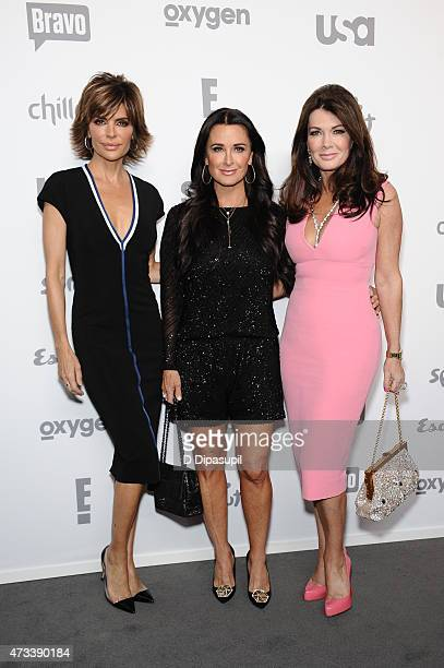 Lisa Rinna Kyle Richards and Lisa Vanderpump attend the 2015 NBCUniversal Cable Entertainment Upfront at The Jacob K Javits Convention Center on May...