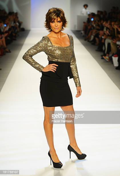Lisa Rinna walks the runway at Strut The Fashionable Mom Show during MercedesBenz Fashion Week at The Studio Lincoln Center on September 10 2012 in...