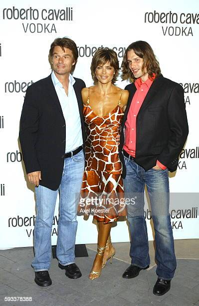 Lisa Rinni Harry Hamlin and his son Dimitri arrive to the launch party for Roberto Cavalli Vodka at a private residence in Holmby Hills California