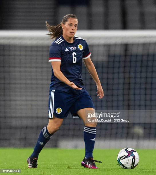 Lisa Robertson in action for Scotland during a FIFA World Cup Qualifier between Scotland and Faroe Islands at Hampden Park on September 21 in...