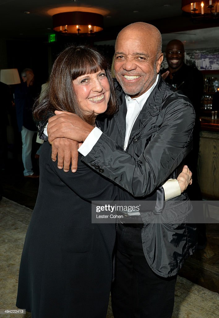 Lisa Robinson (L) and founder of Motown Records Berry Gordy attend the Shelli And Irving Azoff & Ronald Perelman Party to celebrate the publication of Lisa Robinson's book 'There Goes Gravity: A Life in Rock And Roll' on May 28, 2014 in Los Angeles, California.