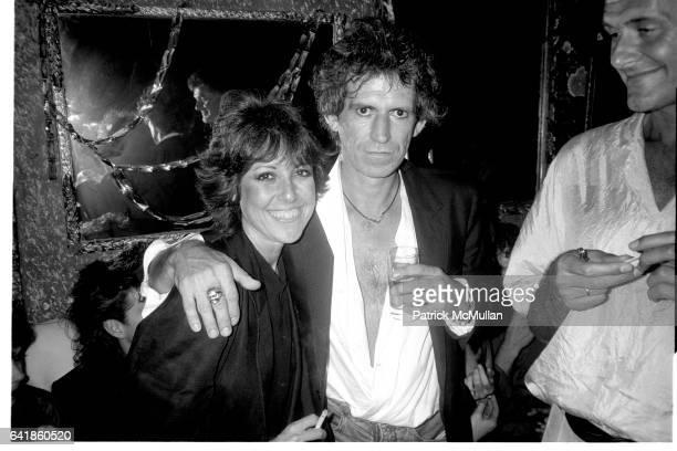 Lisa Robinson and Keith Richards at Mick Jagger's birthday party at the Palladium August 1985