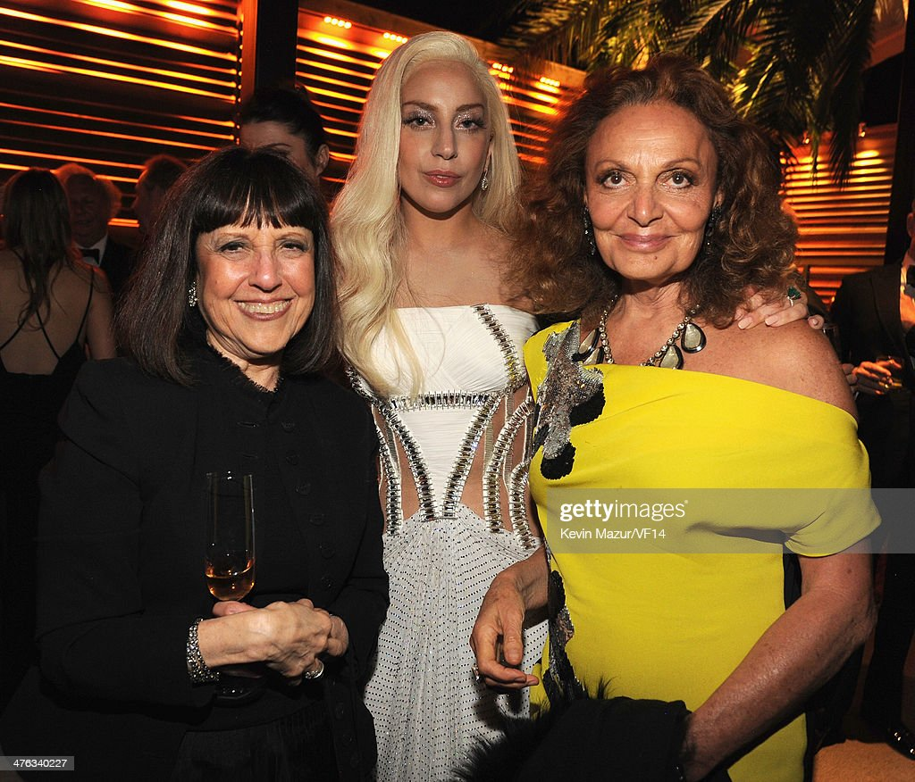 Lisa Robinson, Lady Gaga and Diane Von Furstenberg attend the 2014 Vanity Fair Oscar Party Hosted By Graydon Carter on March 2, 2014 in West Hollywood, California.