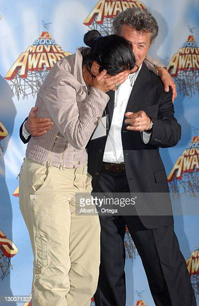 Lisa Rose and Dustin Hoffman during 2005 MTV Movie Awards Press Room at Shrine Auditorium in Los Angeles California United States