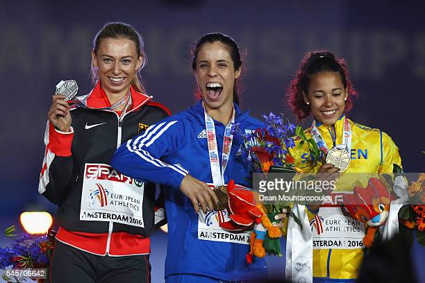 Lisa Ryzih of Germany Ekaterini Stefanidi of Greece and Angelica Bengtsson of Sweden on the podium after receiving medals in the womens pole vault on...