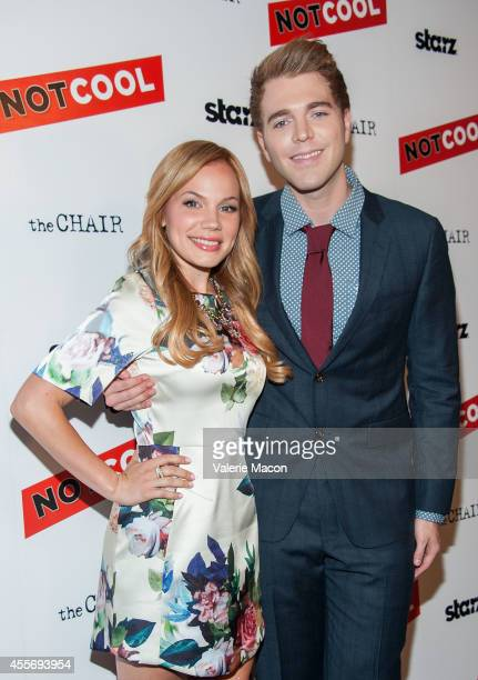 Lisa Schwartz and Shane Dawson arrive at the Premiere Of Starz Digital Media's Not Cool at the Landmark Theater on September 18 2014 in Los Angeles...