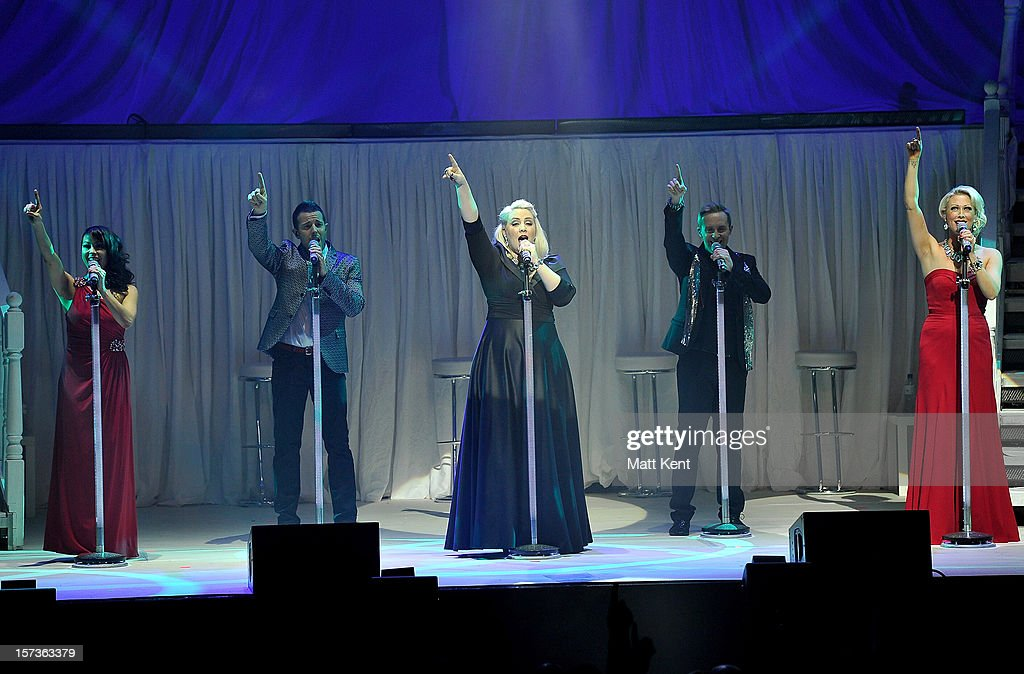 Lisa Scott-Lee, Lee Latchford-Evans, Claire Richards, Ian 'H' Watkins and Faye Tozer of Steps perform at London Palladium on December 2, 2012 in London, England.
