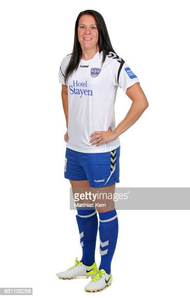 Lisa Seiler of FF USV Jena poses during the Allianz Frauen Bundesliga Club Tour at Ernst Abbe Sportfeld on August 11 2017 in Jena Germany