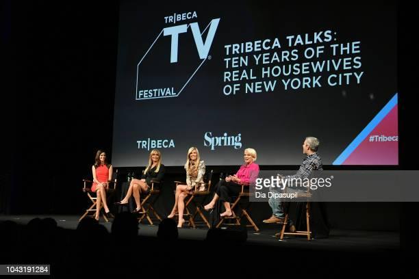 """Lisa Shannon, Sonja Morgan, Tinsley Mortimer, Dorinda Medley and Andy Cohen speak onstage at the Tribeca Talks: """"The Real Housewives Of New York..."""