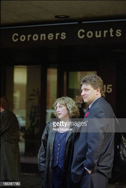 Lisa Shore's parents Bill and Sharon Shore outside Coronor's Court Dr Markus Schily who flew in from Israel to testify Ana Gaile Soriano MAY BE ONE...