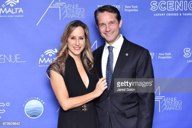 Lisa Singer and Fabien Cousteau attend AVENUE Altruism Awards Life Below Water Gala benefiting Mission Blue at the United Nations on November 13 2017...