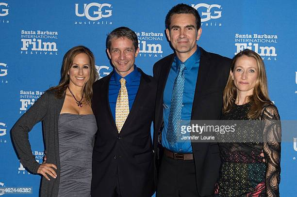 """Lisa Singer, Fabien Cousteau, actor Capkin Van Alphen and Celine Cousteau arrive at the """"Attenborough Award"""" honoring the Cousteau family and world..."""