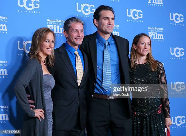 """Lisa Singer, Fabien Cousteau, actor Capkin Van Alphen and Celine Cousteau attend the """"Attenborough Award"""" honoring the Cousteau family and world..."""