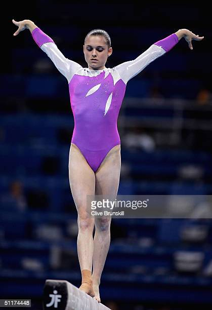 Lisa Skinner of Australia competes on the beam in the qualification round of the team event at the women's artistic gymnastics competition on August...