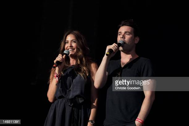 Lisa Snowdon and Dave Berry of Capital FM host the Olympic Torch Relay CocaCola Concert at Hyde Park on July 26 2012 in London United Kingdom